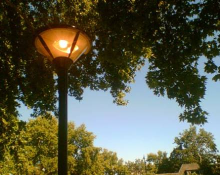 A street lamp ablaze at 3pm