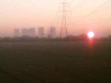 Sunrise over the cooling towers, near doncaster