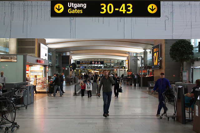 International departures at Gardermoen Airport, Oslo. Photo by Yrstrly.