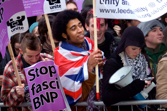 Anti fascist demonstrators in Leeds