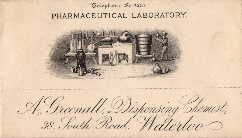 A Greenall, Dispensing Chemist, 38 South Road, Waterloo, Telephone No. 3231