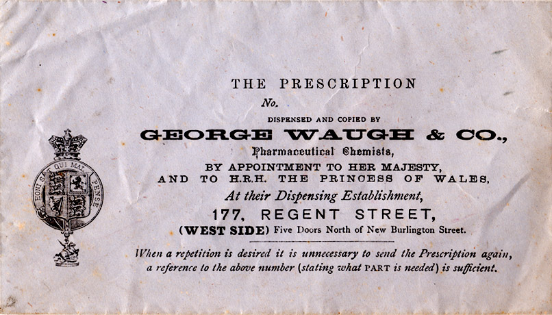 Pharmaceutical Chemists, by appointment to her majesty and to HRH the Princess of Wales, At their dispensing establishment, 177 Regent Street