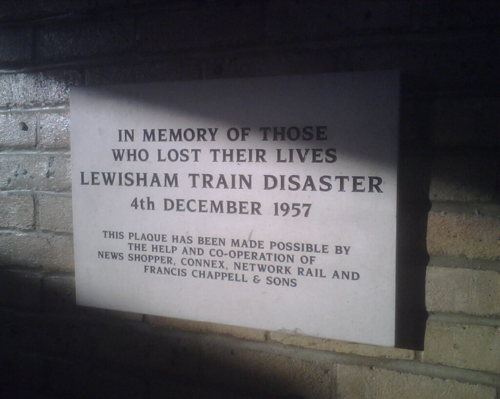 Plaque commemorating those who lost their lives in the Lewisham Train Disaster, 4th December 1957