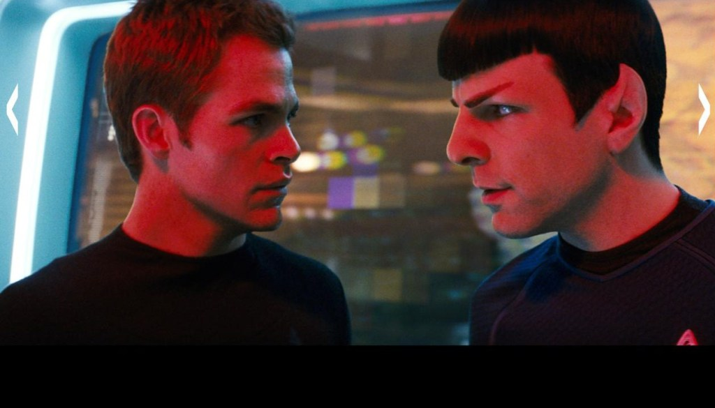 Chris Pine as Kirk, Zachary Qunto as Spock