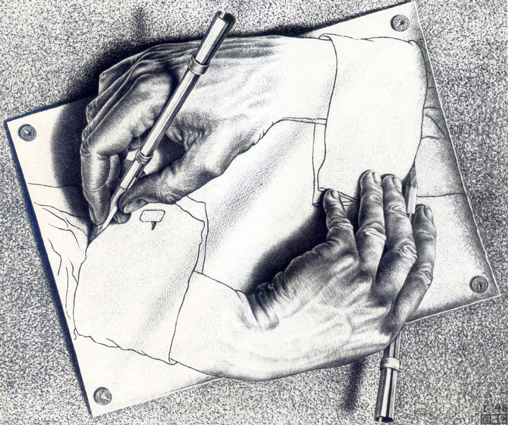 Drawing Hands, M.C. Escher, 1948