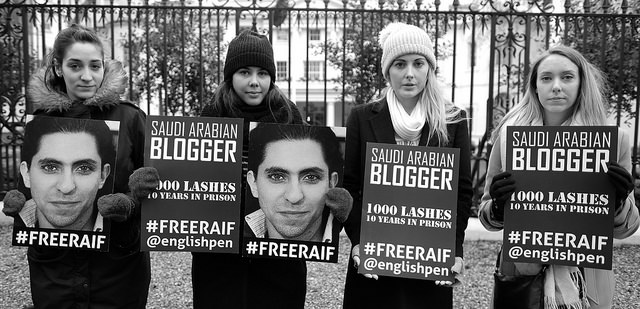 Vigil for Raif Badawi, London, 13 Jan 2017. Photo by Alisdare Hickson, Creative Commons.