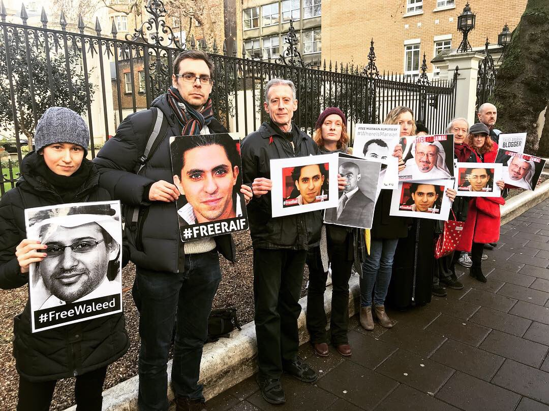 25 January 2019: Vigil for freedom of expression in Saudi Arabia, outside the Saudi Embassy in Mayfair, London.
